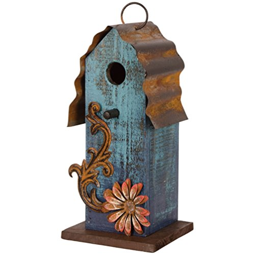 Carson Aqua Blue W Red Flower Wood Amp Tin Roof 10